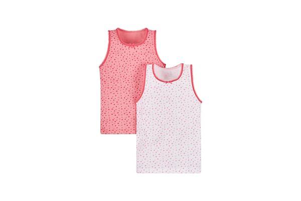 Girls Sleeveless Vest Printed - Pack Of 2 - Pink