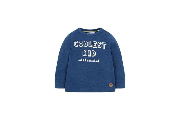 Boys Full Sleeves Sweatshirt Text Print - Navy