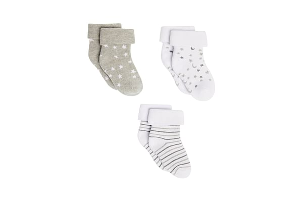 Unisex Socks Star And Moon Design - Pack Of 3 - Multicolor