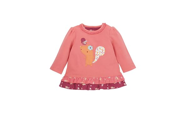 Girls Full Sleeves T-Shirt Frill And Lace Detail - Pink