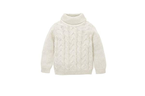 Girls Full Sleeves Roll Neck Sweater Chunky Knit - Cream