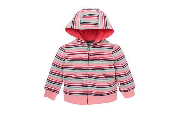 Girls Full Sleeves Hooded Sweatshirt Striped - Pink