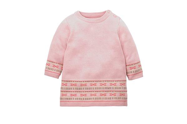 Girls Full Sleeves Knitted Dress Fairisle Design - Pink