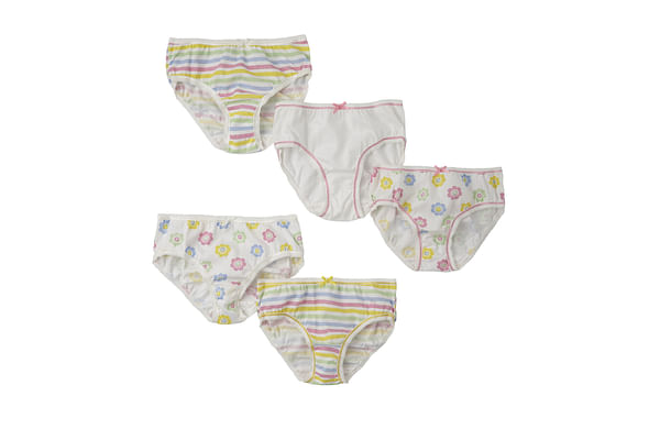 Girls Briefs Printed And Striped - Pack Of 5 - White