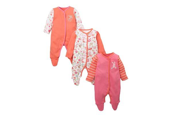 Girls Full Sleeves Sleepsuit Animal Print - Pack Of 3 - Pink