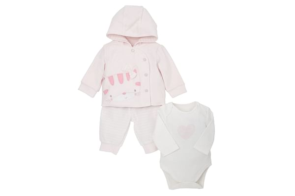 Girls Full Sleeves 3 Piece Jog Set Cat Embroidery - Pink