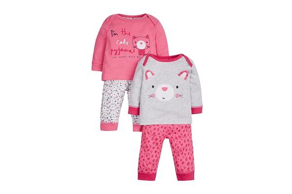 Girls Full Sleeves Pyjama Set Cat Embroidery - Pack Of 2 - Pink