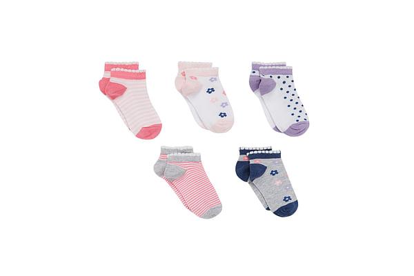 Girls Socks Flower Design - Pack Of 5 - Multicolor