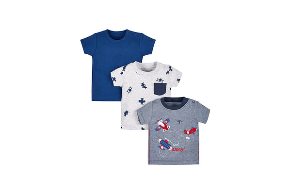 Boys Half Sleeves T-Shirt Aeroplane Embroidery - Pack Of 3 - Blue