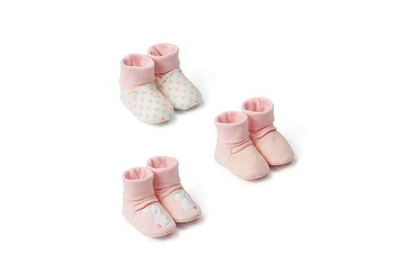 Girls Socktop Booties Bunny Embroidery - Pack Of 3 - Pink