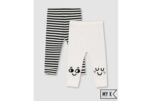 Girls Legging Striped - Pack Of 2 - Black White