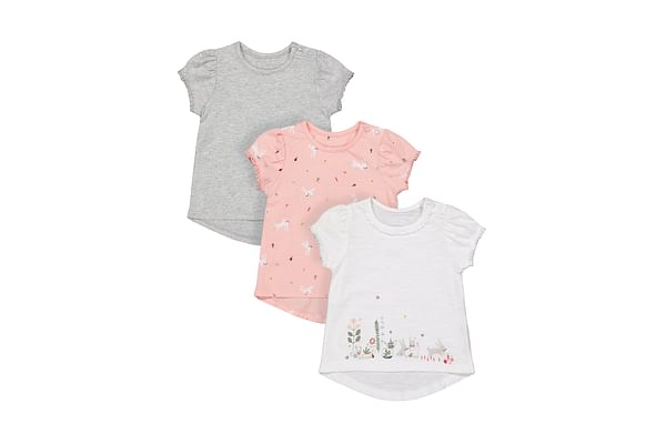 Girls Half Sleeves T-Shirt Bunny Print - Pack Of 3 - Multicolor