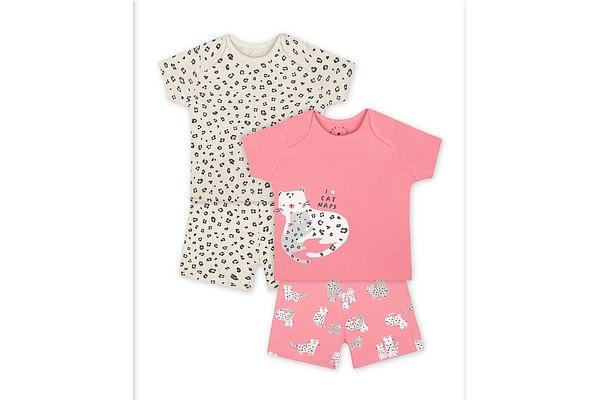 Girls Half Sleeves Shortie Pyjama Set Leopard Print - Pack Of 2 - Pink Cream