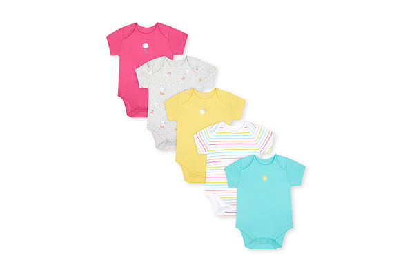 Girls Half Sleeves Bodysuit Printed And Striped - Pack Of 5 - Multicolor