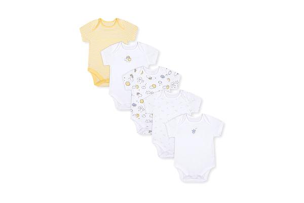 Unisex Half Sleeves Bodysuit Weather Print - Pack Of 5 - Yellow White