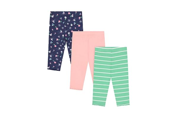 Girls Leggings Printed And Striped - Multicolor