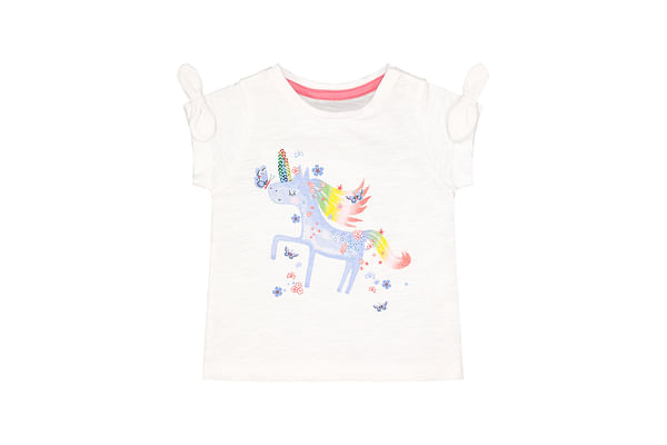 Girls Half Sleeves T-Shirt Sequined Unicorn Detail - White