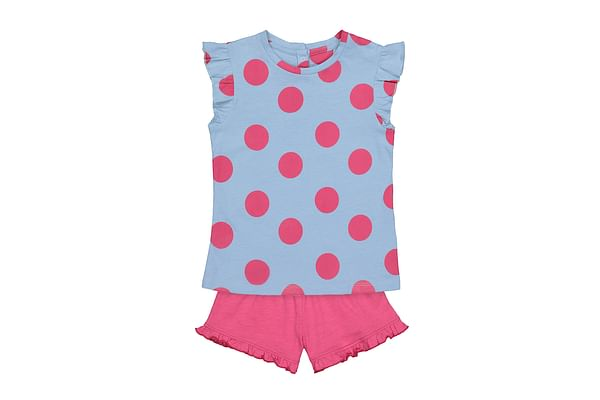 Girls Half Sleeves Top And Shorts Set Polka Dot Print - Multicolor