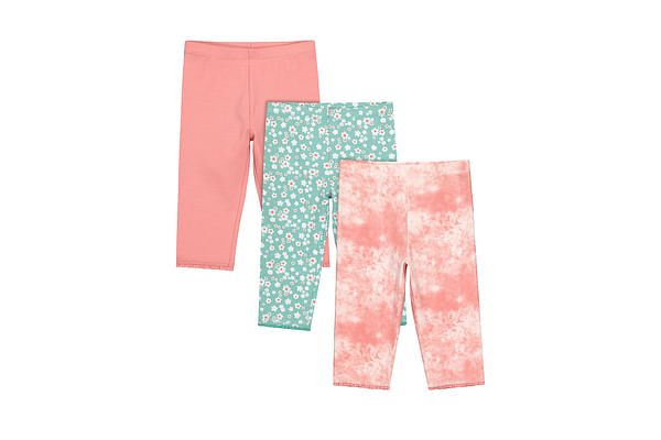 Girls Cropped Legging Printed - Pack Of 3 - Multicolor