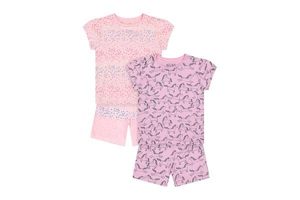 Girls Half Sleeves Shortie Pyjama Set Star And Unicorn Print - Pack Of 2 - Pink