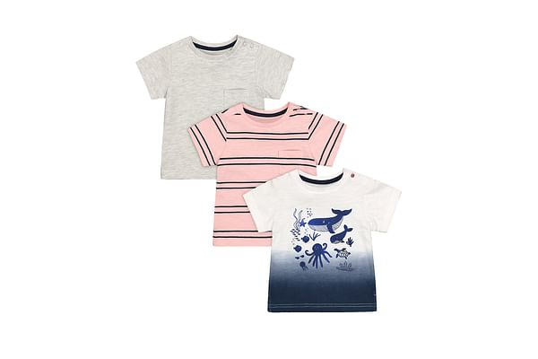 Boys Half Sleeves T-Shirt Stripe And Whale Print - Pack Of 3 - Multicolor