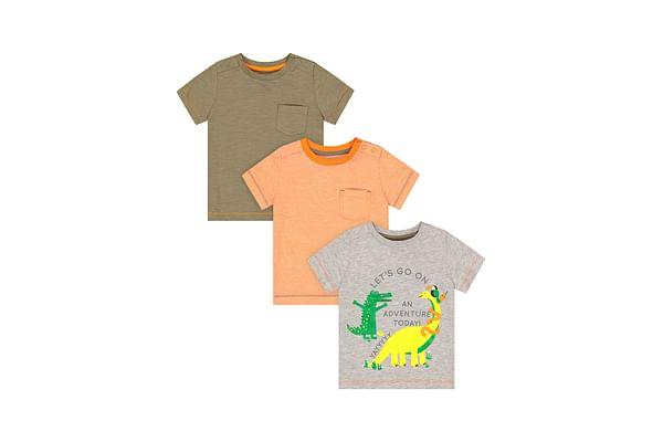 Boys Half Sleeves T-Shirt Dino Print - Pack Of 3 - Multicolor