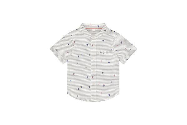 Boys Half Sleeves Shirt Stripes And Printed - White