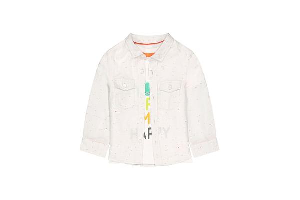 Boys Full Sleeves Shirt And T-Shirt Set Text Print - Beige