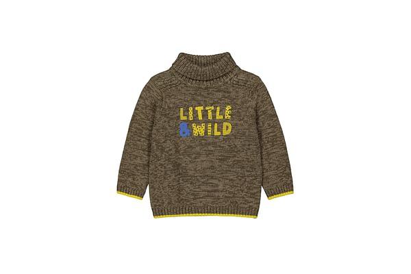 Boys Full Sleeves Sweater Text Print - Khaki