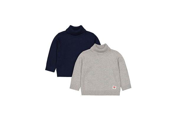 Boys Full Sleeves Roll-Neck Sweater - Pack Of 2 - Grey Navy