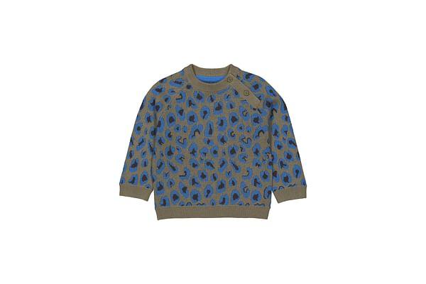 Boys Full Sleeves Sweater Leopard Print - Khaki