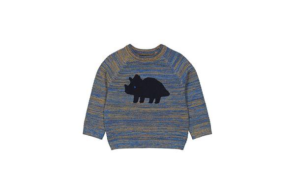 Boys Full Sleeves Sweater Dino Pattern - Blue