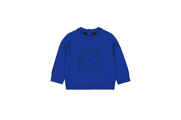 Boys Full Sleeves Sweater Bear Pattern - Blue