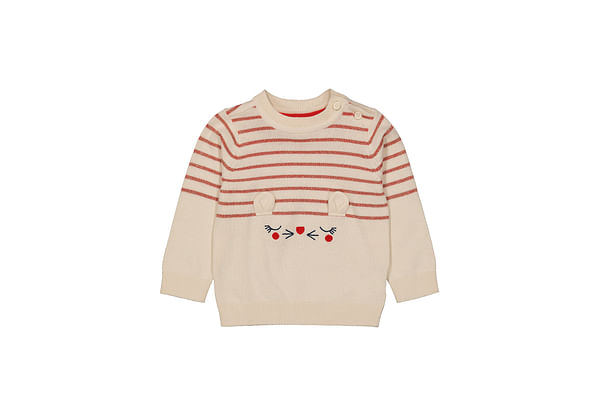 Girls Full Sleeves Sweater 3D Details - Beige