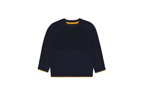 Boys Full Sleeves Sweater Striped - Navy