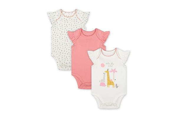 Girls Half Sleeves Bodysuit Giraffe Print - Pack Of 3 - Multicolor