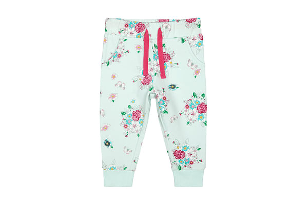 Girls Joggers Floral Print - White