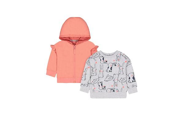 Girls Full Sleeves Sweatshirt Bunny Print - Grey
