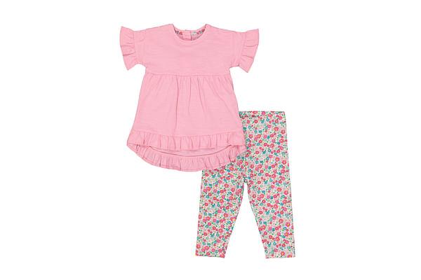 Girls Half Sleeves T-Shirt And Legging Set Floral Print - Pink