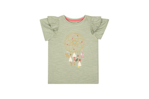 Girls Half Sleeves T-Shirt 3D Tassels - Khaki