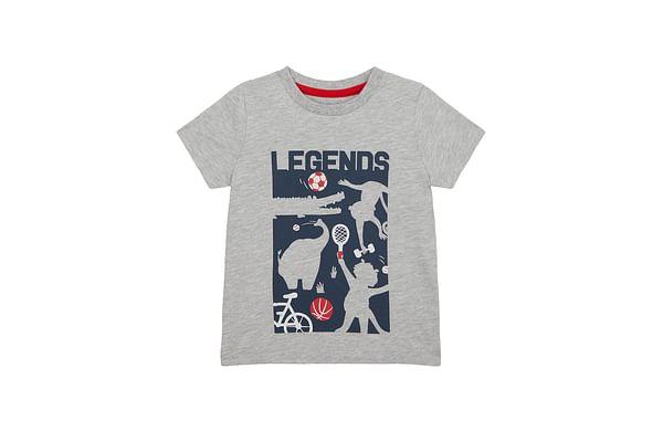 Boys Half Sleeves T-Shirt Text Print - Grey