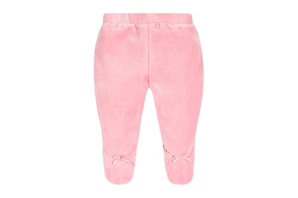 Girls Velour Leggings Bow Detail - Pink