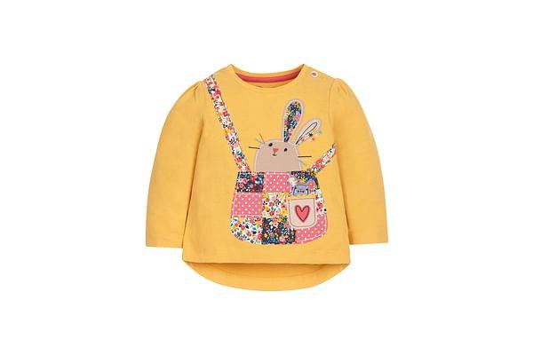 Girls Full Sleeves T-Shirt Bunny Patchwork - Mustard