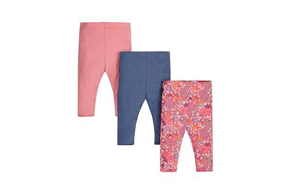 Girls Leggings Floral Print - Pack Of 3 - Pink