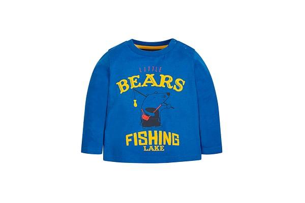Boys Full Sleeves T-Shirt Bear Print - Blue