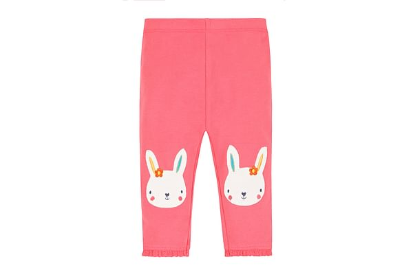 Girls Leggings Bunny Embroidery - Pink