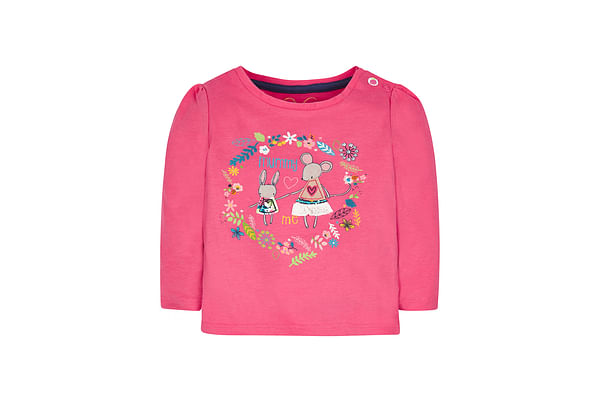 Girls Full Sleeves T-Shirt Mouse Patchwork - Pink