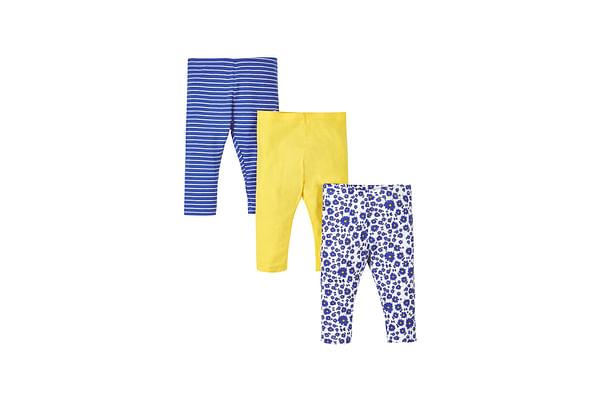 Girls Stripy, Plain And Floral Leggings - Pack Of 3