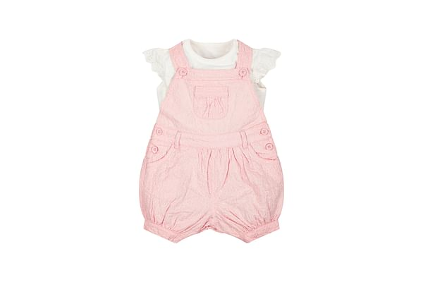 Girls Embroidered Bibshorts And Bodysuit Set