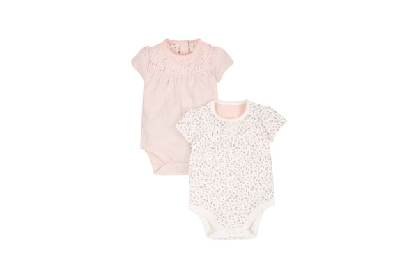 Girls Floral And Pink Broderie Bodysuits - Pack Of 2